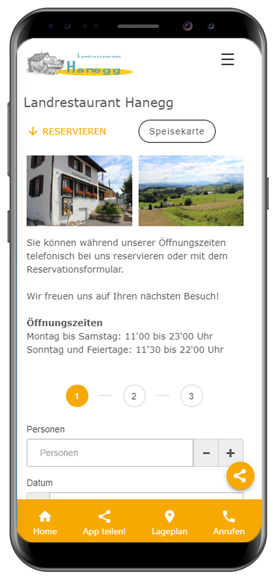 App - PWA Referenz Landrestaurant Hanegg